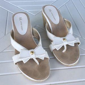 Anne Klein Sandals White Gold Bow